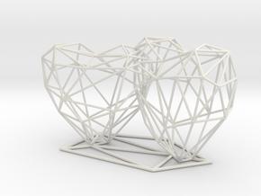 Open 3D Hearts Cake topper in White Natural Versatile Plastic: Small