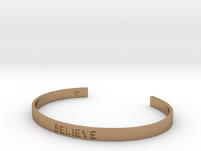 Believe Engrave Bracelet Sizes S-L in Polished Brass: Small