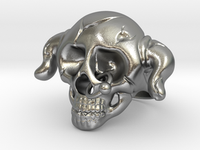 Nasty Skull Ring in Natural Silver (Interlocking Parts)