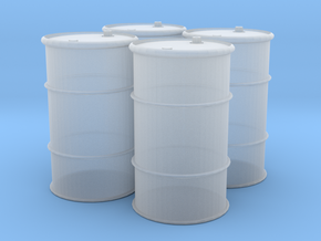 HO 55 Gallon Drum set of 4 in Smooth Fine Detail Plastic