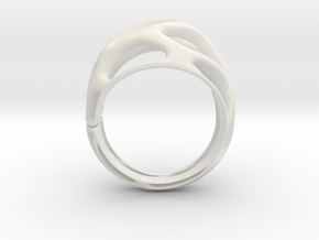 Ring Voronoy  in White Natural Versatile Plastic
