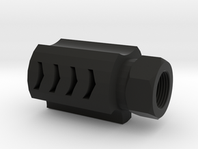 Executer Airsoft Flash Hider (14mm-) in Black Natural Versatile Plastic