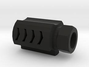 Executer Airsoft Flash Hider (14mm-) in Black Natural Versatile Plastic