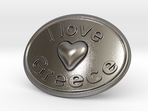 I Love Greece Belt Buckle in Polished Nickel Steel