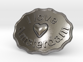 I Love Amsterdam Belt Buckle in Polished Nickel Steel