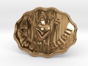 I Love Copenhagen Belt Buckle in Polished Brass