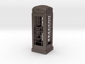 K6 Telephone Box (7.5cm) in Polished Bronzed Silver Steel