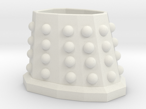 Dalek Planter (with Hole) in White Strong & Flexible