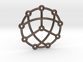 Petersen Graph Pendant in Polished Bronze Steel