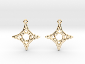 Diamond Star Earrings in 14k Gold Plated Brass