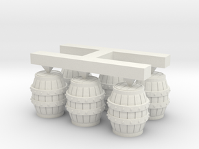 S Scale Barrels (2) in White Natural Versatile Plastic