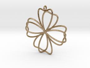 Pendant Quadrifolium  in Polished Gold Steel