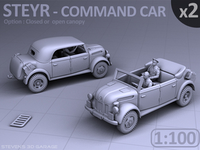 STEYR COMMAND CAR - (2 pack) - (1:100) in Smooth Fine Detail Plastic