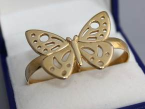 DOUBLE RING BUTTERFLY in Polished Bronze