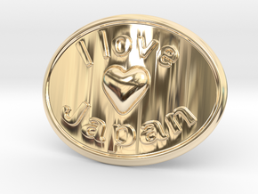 I Love Japan Belt Buckle in 14K Yellow Gold