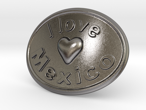 I Love Mexico Belt Buckle in Polished Nickel Steel