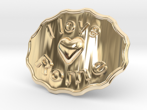 I Love Rome Belt Buckle in 14K Yellow Gold