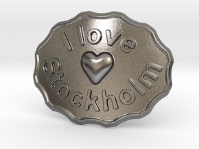 I Love Stockholm Belt Buckle in Polished Nickel Steel