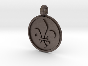 Fleur De Lis Pendant in Polished Bronzed Silver Steel