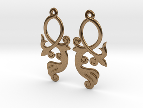 Crossing Tail Earring Set in Natural Brass