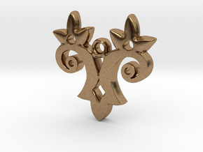 Twin Flower Pendant in Natural Brass