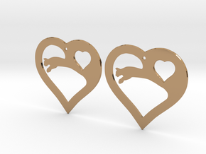 The Eager Hearts (precious metal earrings) in Polished Brass