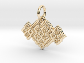 M and W Pendant in 14k Gold Plated Brass