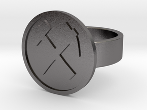 Hammer & Pick Ring in Polished Nickel Steel: 10 / 61.5