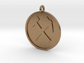 Hammer & Pick Pendant in Natural Brass