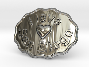 I Love San Diego Belt Buckle in Fine Detail Polished Silver