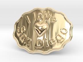I Love San Diego Belt Buckle in 14K Yellow Gold