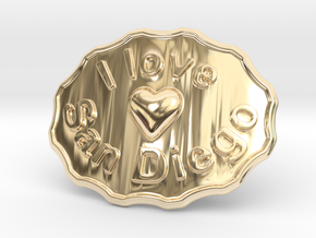 I Love San Diego Belt Buckle in 14k Gold Plated Brass