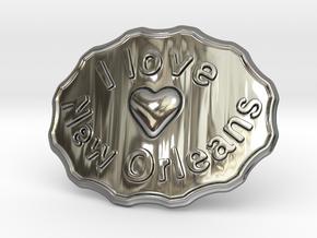 I Love New Orleans Belt Buckle in Fine Detail Polished Silver
