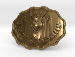 I Love New Orleans Belt Buckle in Polished Bronze