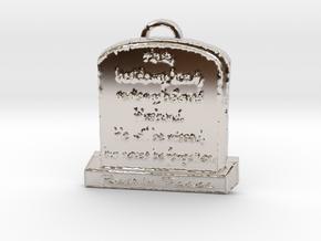Memorial Pendant in Rhodium Plated Brass: Large