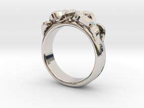 Designer Ring #3 in Rhodium Plated Brass: 6 / 51.5