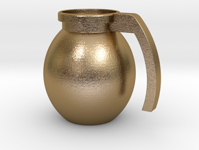 "Mug ""Grenade"" in Polished Gold Steel"