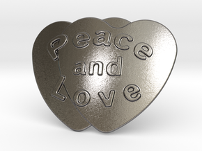 Peace And Love Belt Buckle in Polished Nickel Steel