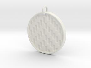 Herringbone Pendant in White Natural Versatile Plastic