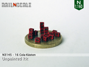 16 Cola-Kästen (N 1:160) in Smoothest Fine Detail Plastic
