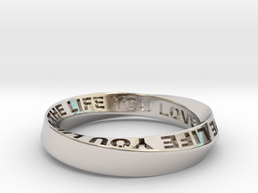 Live The Life You Love - Mobius Ring 4.5mm band in Rhodium Plated Brass: 7.75 / 55.875
