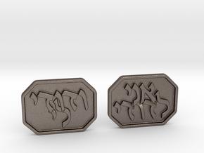 Herbrew Cufflinks - Ani L'dodi V'dodi Li in Polished Bronzed Silver Steel