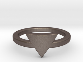 Small Triangle Midi Ring in Polished Bronzed Silver Steel
