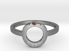 Small Offset Circle Midi Ring in Polished Silver