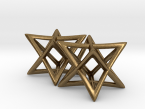 Star of David Earrings in Natural Bronze: Small