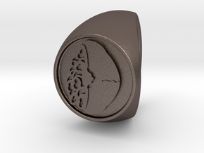 Custom Signet Ring 52 in Polished Bronzed Silver Steel