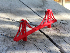 Golden Gate Bridge Pendant in Red Strong & Flexible Polished
