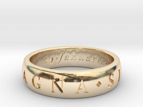 Size 10.5 Sir Francis Drake, Sic Parvis Magna Ring in 14K Yellow Gold