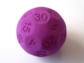 D30 Sphere Dice in Purple Strong & Flexible Polished