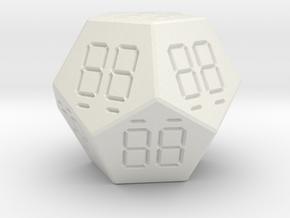 7 Segment Style D12 Die in White Natural Versatile Plastic